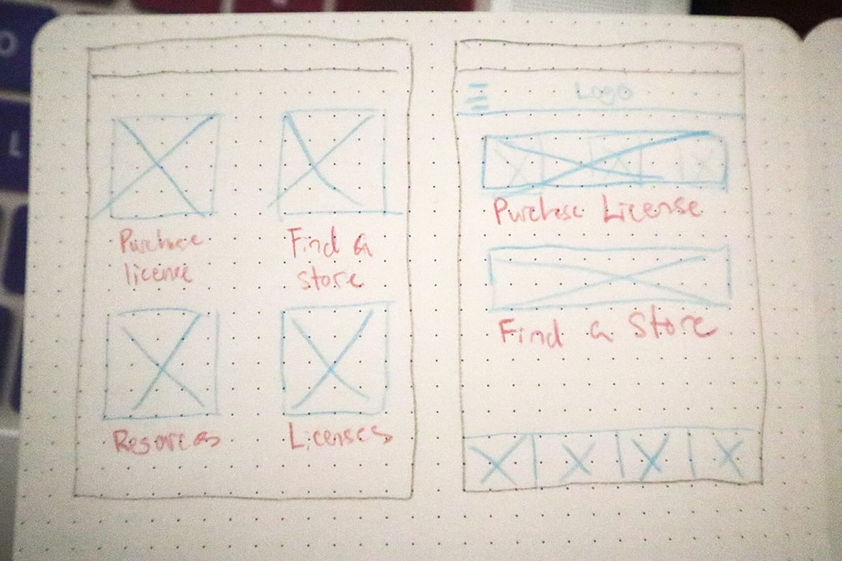 Field notes sketch depicting a home page and navigation menu.