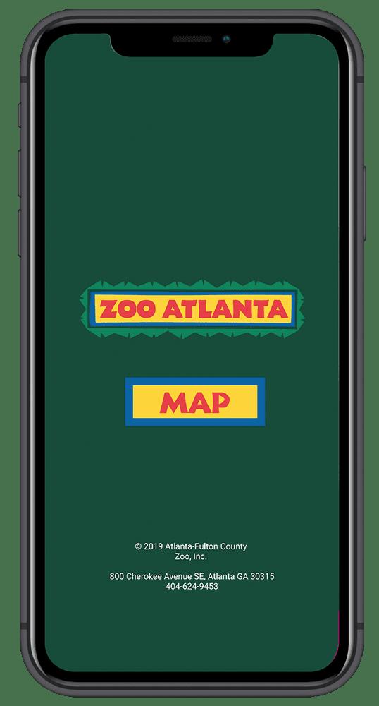 iPhone X with Zoo Atlanta Prototype Splash Screen.