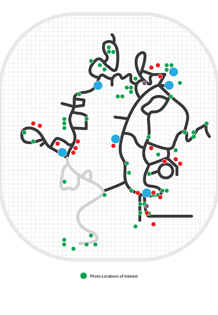 Site map of the Zoo. Green dots are locations of interest.