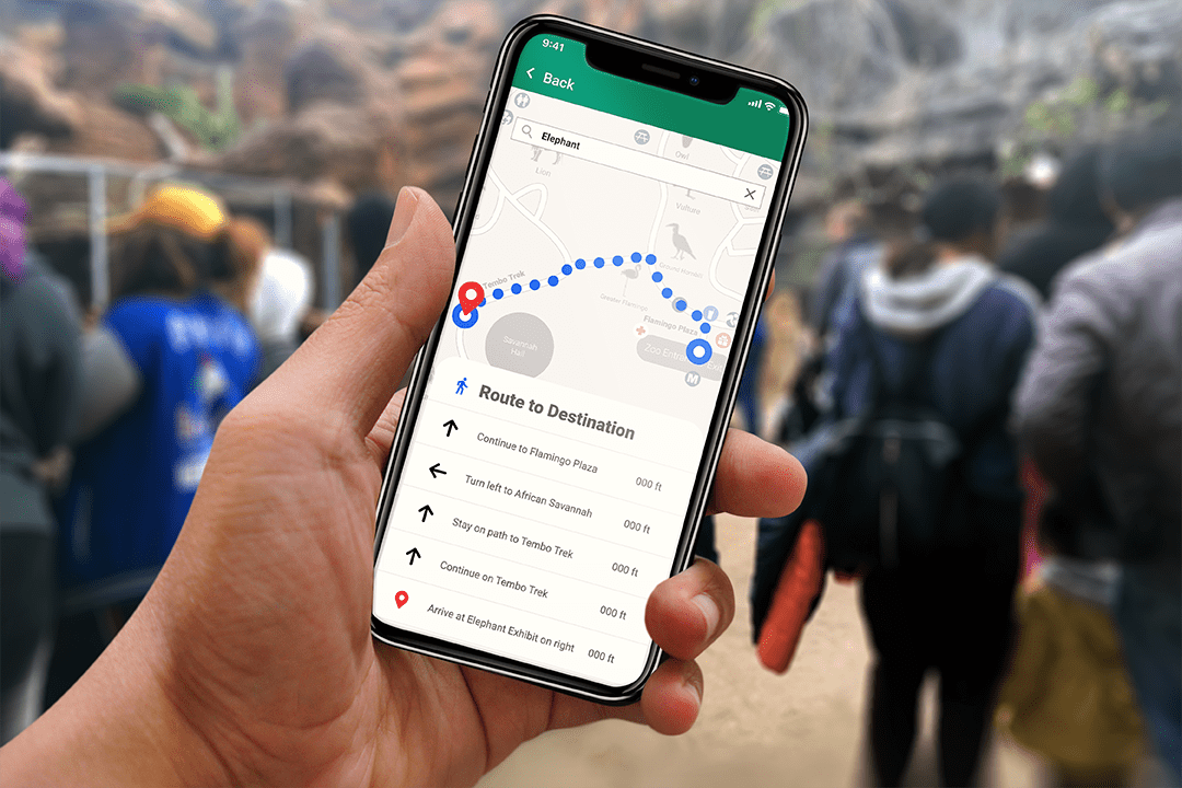 iPhone with map app open to go through zoo.